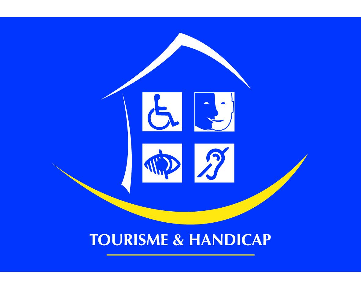 Logo tourisme et handicap moteur, mental, auditif, visuel